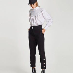 🆕 Zara Blk High Waist Trousers w/Metal Appliqués